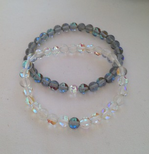 Iridescent Quartz couples bracelets.
