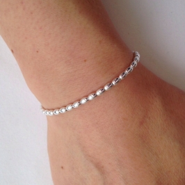 Simple Sterling silver bracelet with Olive shaped Sterling silver beads