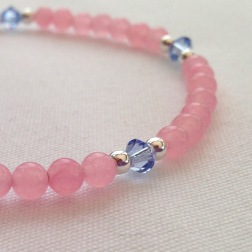 Rose Quartz and Serenity bracelet with Swarovski elements and Sterling silver