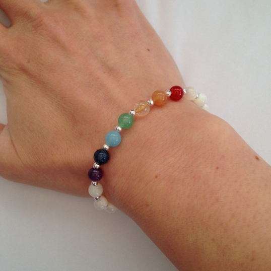 Mother of pearl bracelet with Sterling silver and semiprecious rainbow.