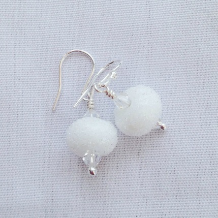 Lampwork snowball earrings with Swarovski elements and Sterling silver.