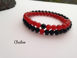 Carnelian and Black Agate couple's bracelets