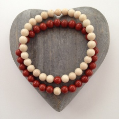 Fossil and Red Jasper couple's bracelets