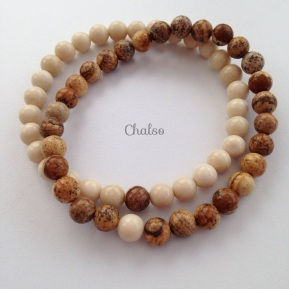 Fossil and Picture Jasper couple's bracelets