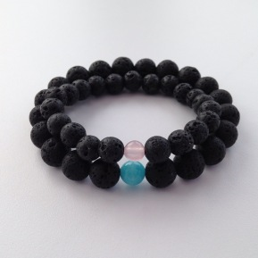 His and Hers Lava couple's bracelets with Aquamarine and Rose Quartz