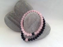 Frosted Rose Quartz and Onyx, his and hers, couple's bracelets.