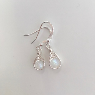 Moonstone earrings with Sterling silver, for June birthdays. Available with matching necklace.
