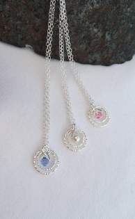 Double Circle flower girl necklaces.
