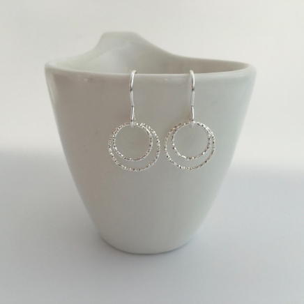 Double Circle, Sterling silver earrings. These represent the love between two people, a couple or siblings. They would make a great gift for you wife, girlfriend or sister.