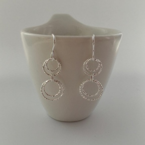 Dangly Sterling silver Circle earrings