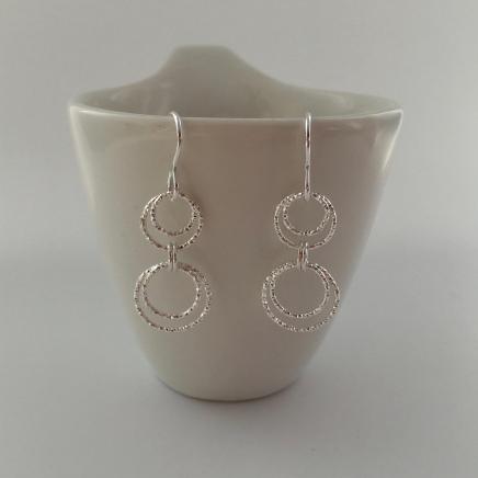 Dangly Sterling silver Circle earrings