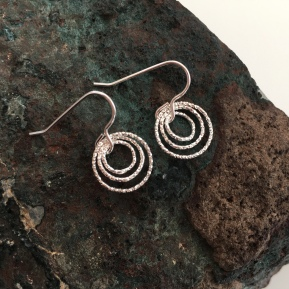 Triple Circle earrings made with three sparkly, diamond cut, Sterling silver rings.