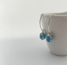 Aquamarine earrings with Sterling silver.
