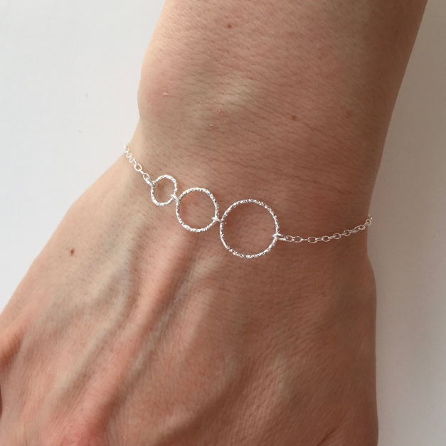 Got a special three? Triple Circle, Sterling silver bracelet.