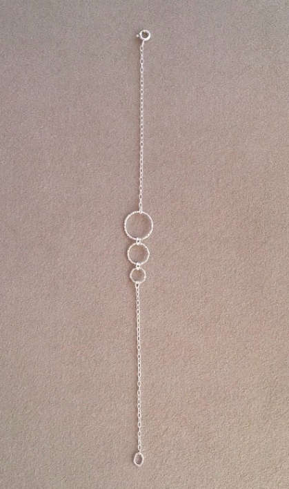 Silver Circles bracelet made with three sparkly, diamond cut, Sterling silver rings and Sterling silver chain.