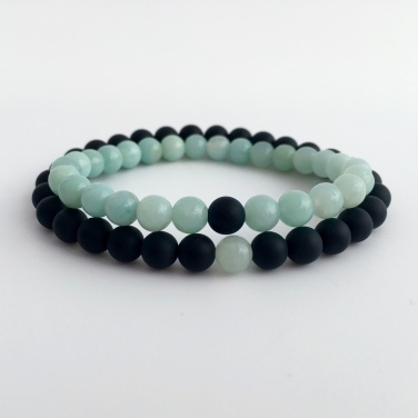 Amazonite and matte black Onyx couples bracelets