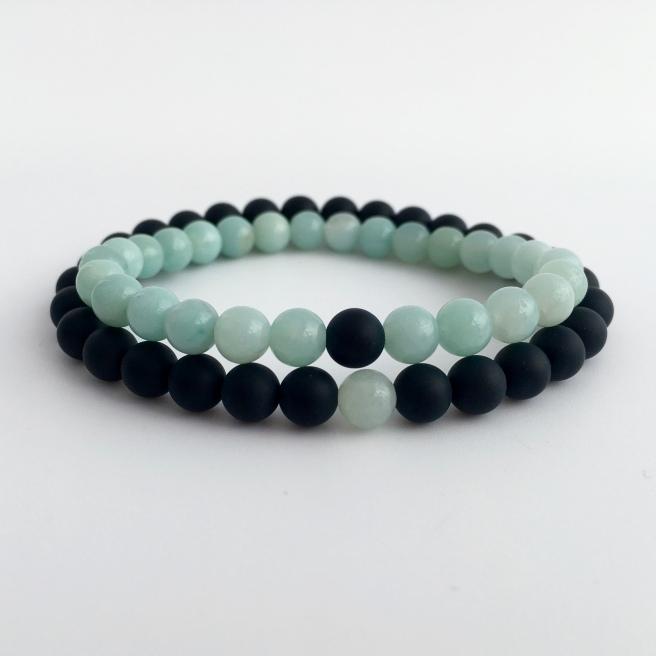 Amazonite and matte black Onyx couples bracelets