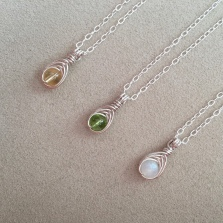 Tiny birthstone pendants with Citrine, Peridot, Moonstone and Sterling silver. Made as a custom order for three flower girls.