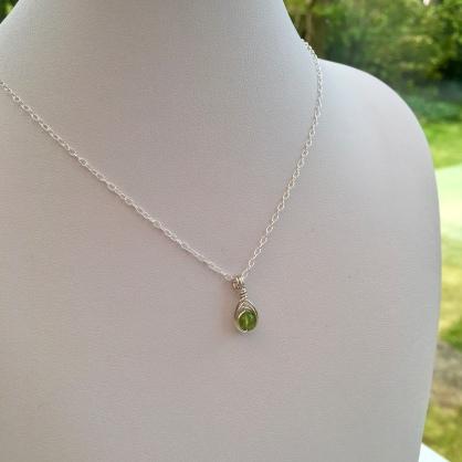 Peridot pendant for August birthdays. Custom variation of my Moonstone necklace.
