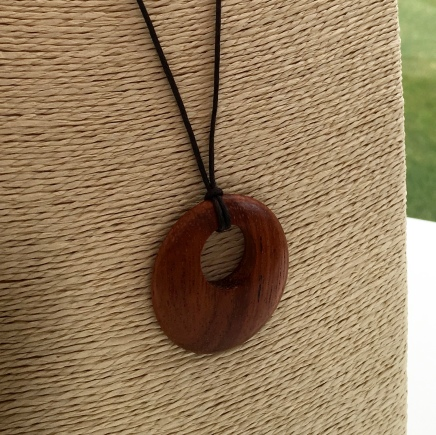 Bayong pendant with dark brown cotton cord.
