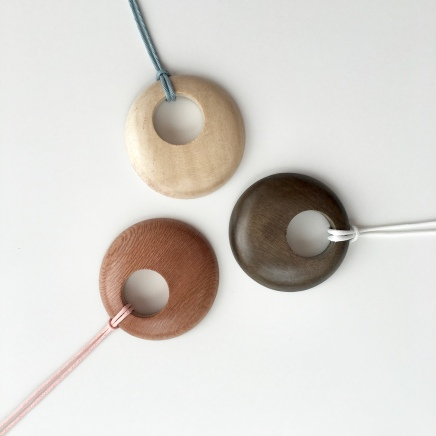 Whitewood, Greywood and Rosewood pendants with coloured cotton or hemp cord. Perfect for summer!