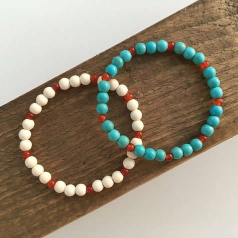 Turquoise and White Turquoise bracelet set with red Carnelian.