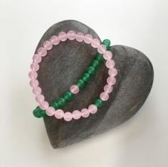 "Pink Rose Quartz and green Aventurine ""You complete Me"" couples bracelets."