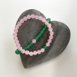 "Pink Rose Quartz and green Aventurine ""You complete Me"" couples bracelets."