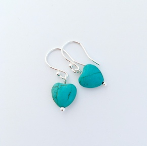Turquoise heart earrings with Sterling silver. These earrings would make a lovely gift for your girlfriend, sister or daughter.