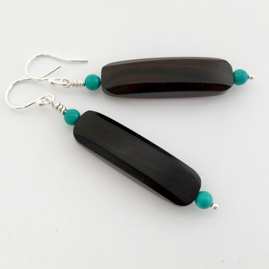 Tiger Ebony earrings with Turquoise and Sterling silver.