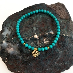 Turquoise and Gold Lotus flower bracelet.