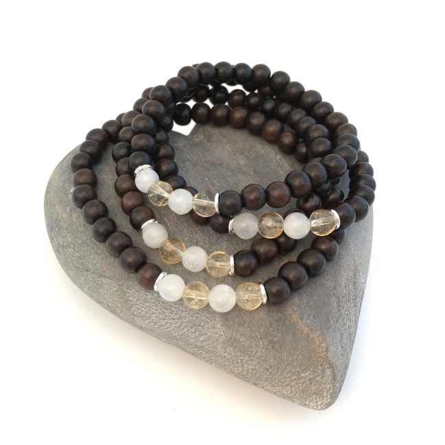 Tiger ebony with Moonstone, Citrine and Sterling silver. Made for a family. Birthstone jewellery makes a great gift. I make birthstone jewellery for each month of the year with genuine gemstone beads.