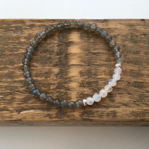 Flashy Labradorite and Rainbow Moonstone bracelet with Sterling silver. A great summer gift!