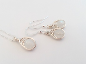 Moonstone with Sterling silver, earrings and necklace set.