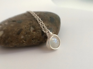 Stunning rainbow Moonstone pendant with Sterling silver
