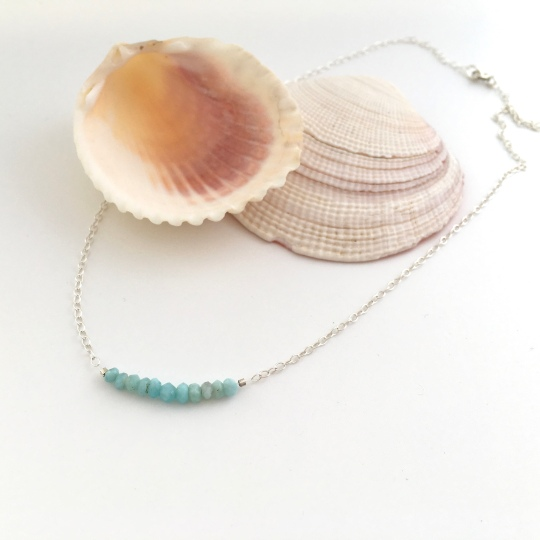 Larimar necklace with beautiful pale turquoise blue Larimar and Sterling silver. Great on it's own or layered with other necklaces.