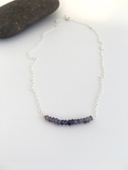 Iolite necklace with beautiful blue Iolite stones and Sterling silver. Great on it's own or layered with other necklaces.