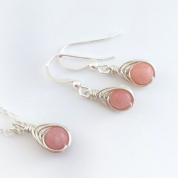 Pink Opal necklace and earrings. Beautiful, tiny, pink Opal wrapped with Sterling silver.