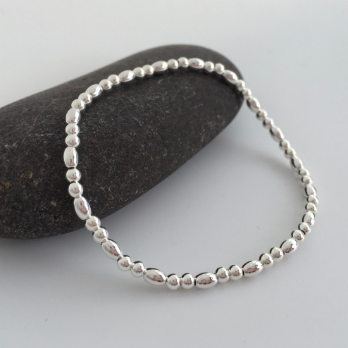 Sterling silver stretch bracelet made with tiny Sterling silver beads