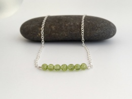 Light green Peridot necklace, perfect for an August birthday.