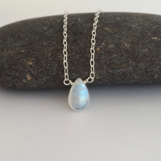 Rainbow Moonstone teardrop pendant.