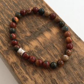 Beautiful multicoloured Picasso Jasper stretch bracelet.