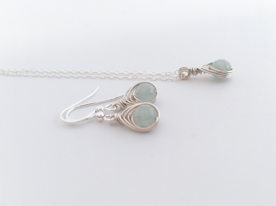 Beautiful pale blue Aquamarine earrings and necklace made with Sterling silver