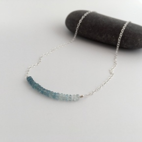 Beautiful ombré AA Aquamarine necklace with Sterling silver