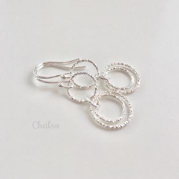 Dangly Sterling silver Circle earrings.
