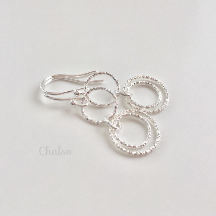 Dangly Sterling silver Circle earrings.
