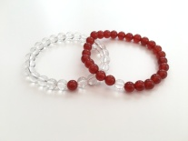 Sisters bracelets with clear Crystal quartz and Carnelian.