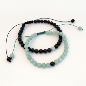 Amazonite and Onyx couples bracelets with sliding knots.