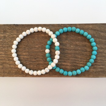 "Turquoise and White Turquoise ""You complete Me"" couples bracelets."