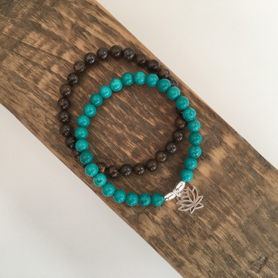 Turquoise Lotus flower bracelet and Bronzite stacking bracelet. The gift of tranquility!